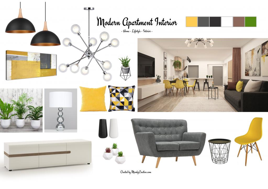 Contemporary Interior Design Mood Board – Personality, past & present